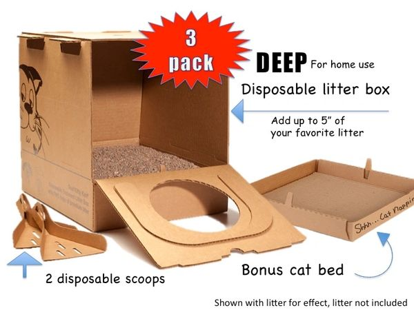 """New - 3 pk """"Deep"""" Disposable litter box (add your own litter)"""