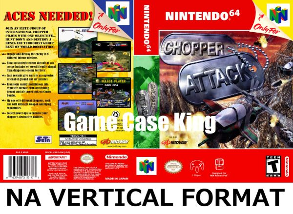 Chopper Attack N64 Game Case with Internal Artwork