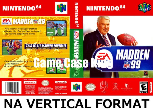 Madden NFL 99 N64 Game Case with Internal Artwork