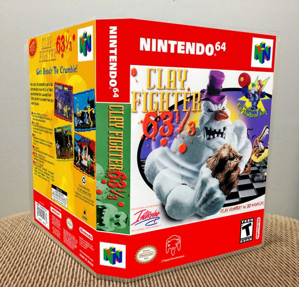 ClayFighter 63⅓ N64 Game Case with Internal Artwork