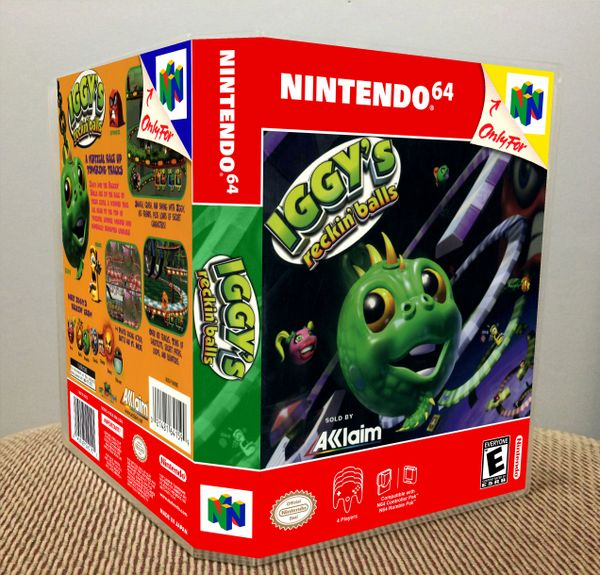 Iggy's Reckin' Balls N64 Game Case with Internal Artwork