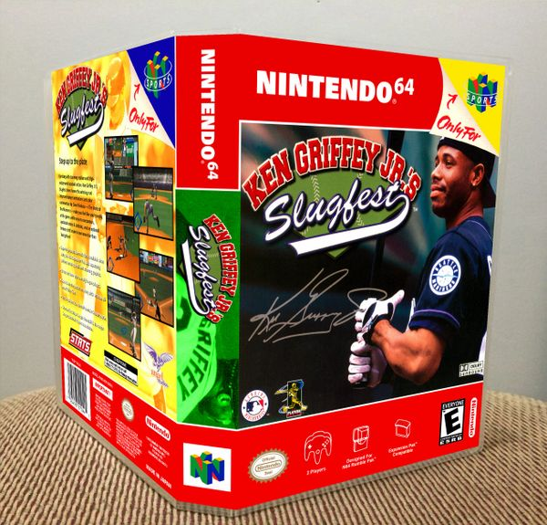 Ken Griffey, Jr.'s Slugfest N64 Game Case with Internal Artwork