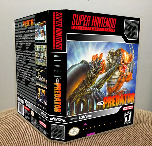 Alien vs. Predator SNES Game Case with Internal Artwork