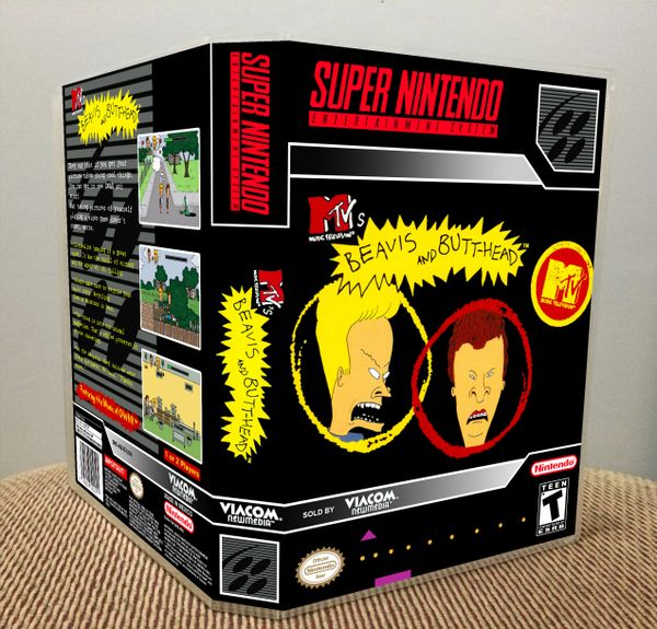 Beavis and Butt-head SNES Game Case with Internal Artwork