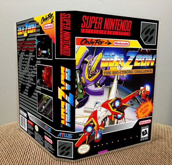 BlaZeon: The Bio-Cyborg Challenge SNES Game Case with Internal Artwork