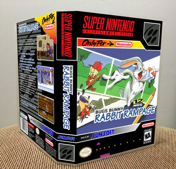 Bugs Bunny Rabbit Rampage SNES Game Case with Internal Artwork
