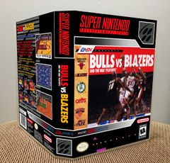 Bulls versus Blazers and the NBA Playoffs SNES Game Case with Internal Artwork