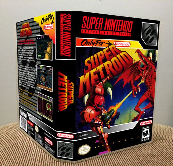Super Metroid SNES Game Case with Internal Artwork
