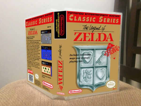 Legend of Zelda (The) GREY CARTRIDGE NES Game Case with Internal Artwork