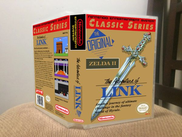 Legend of Zelda II The Adventure of Link GREY CARTRIDGE NES Game Case with Internal Artwork