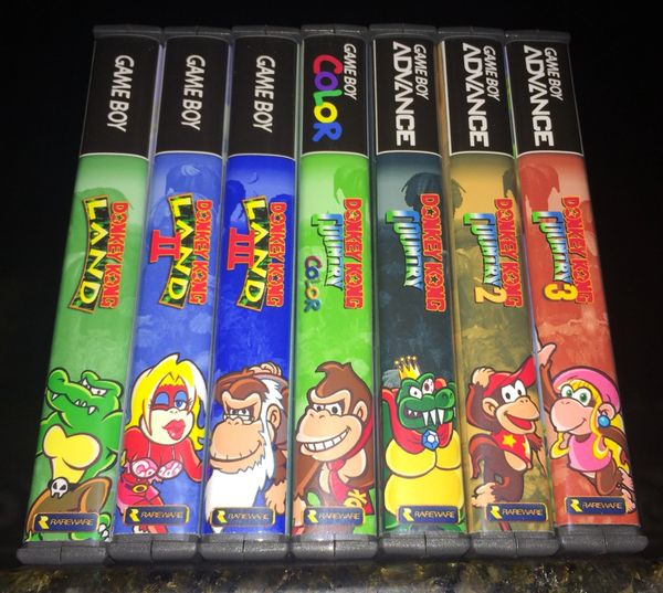 Donkey Kong Land and Country 7 Case Gameboy Lot WITH CUSTOM SPINES!