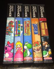Super Mario Advance 5 Case Gameboy Lot WITH CUSTOM SPINES!!!