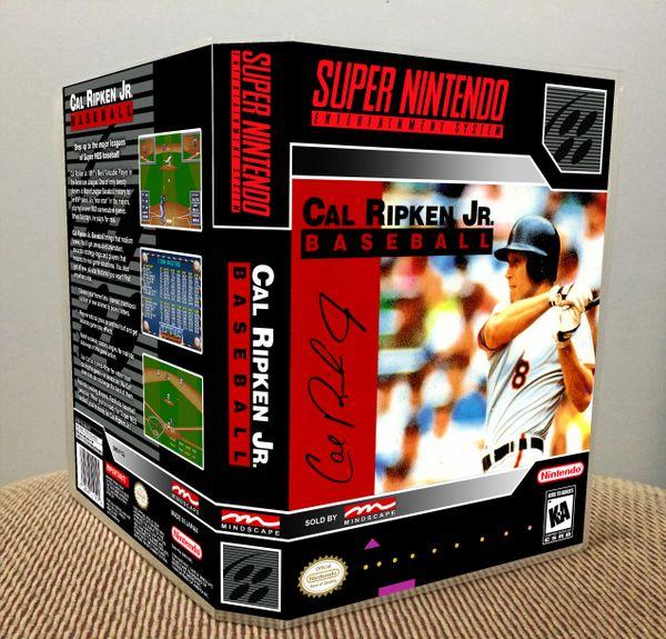 Cal Ripken Jr. Baseball SNES Game Case with Internal Artwork
