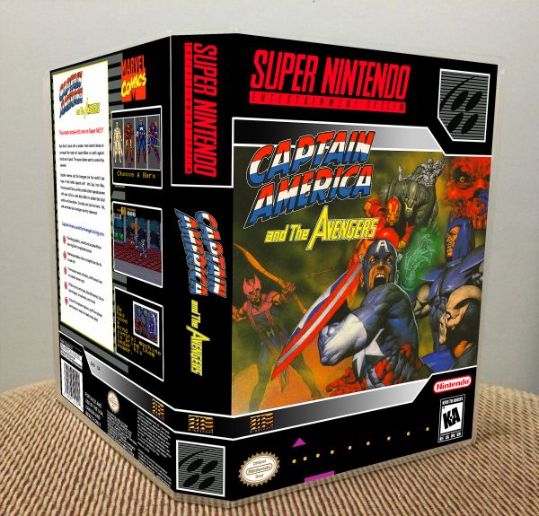 Captain America and The Avengers SNES Game Case with Internal Artwork