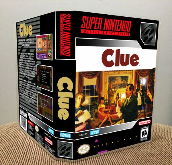 Clue SNES Game Case with Internal Artwork