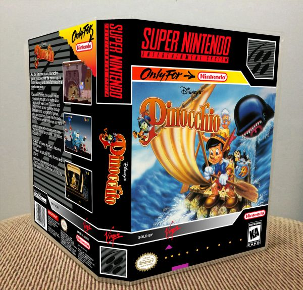 Disney's Pinocchio SNES Game Case with Internal Artwork