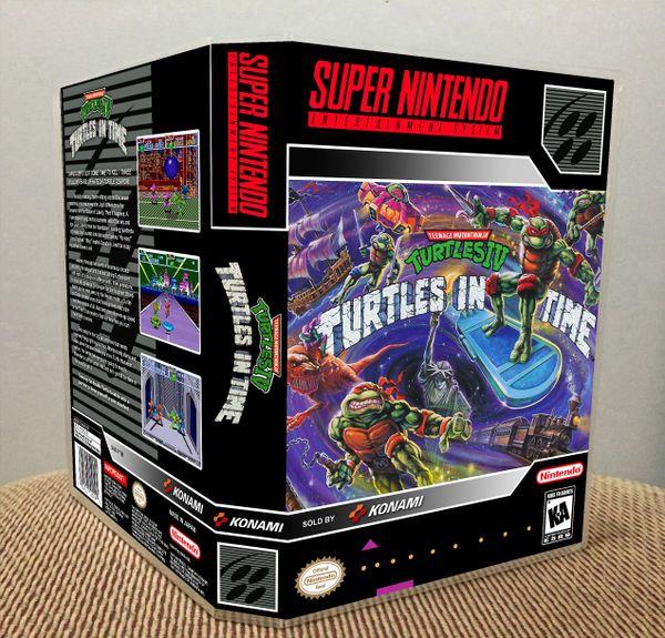 Teenage Mutant Ninja Turtles IV: Turtles in Time SNES Game Case with Internal Artwork