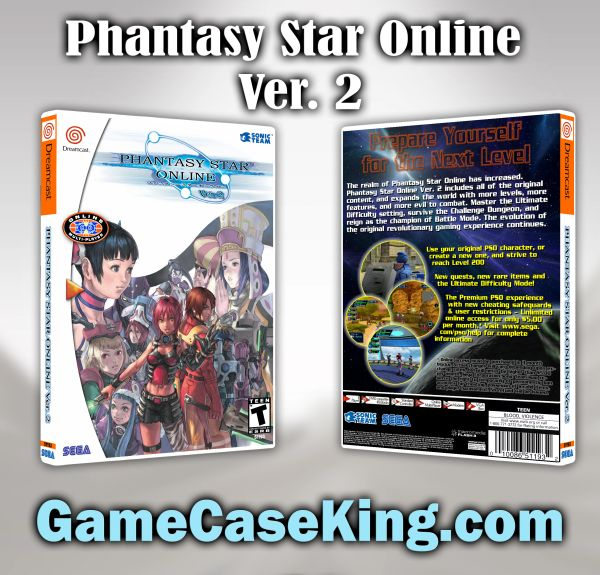 Phantasy Star Online Ver. 2 Sega Dreamcast Game Case