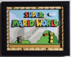 "Super Mario World (SNES) - ""Title Screen"" 3D Video Game Shadow Box with Glass Frame 10 x 12.5 inches"