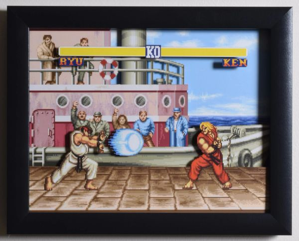 "Street Fighter 2 (SNES) - ""The Dock"" 3D Video Game Shadow Box with Glass Frame 10 x 12.5 inches"