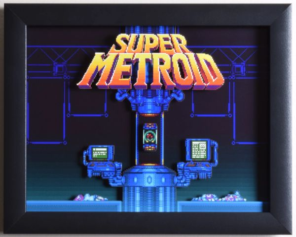 "Super Metroid (SNES) - ""Title Screen"" 3D Video Game Shadow Box with Glass Frame 10 x 12.5 inches"
