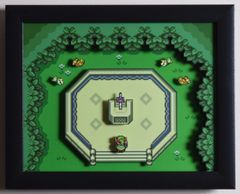 "Legend of Zelda (SNES) - ""The Master Sword"" 3D Video Game Shadow Box with Glass Frame 10 x 12.5 inches"