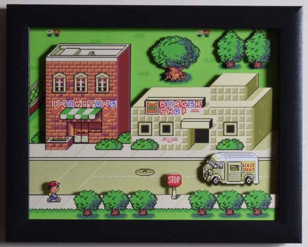 "EarthBound (SNES) - ""Onett"" 3D Video Game Shadow Box with Glass Frame 10 x 12.5 inches"