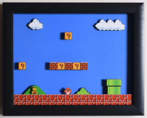 "Super Mario Bros (NES) - ""World 1-1"" 3D Video Game Shadow Box with Glass Frame 10 x 12.5 inches"