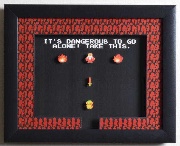 "Legend of Zelda (NES) - ""It's Dangerous To Go Alone"" 3D Video Game Shadow Box with Glass Frame 10 x 12.5 inches"