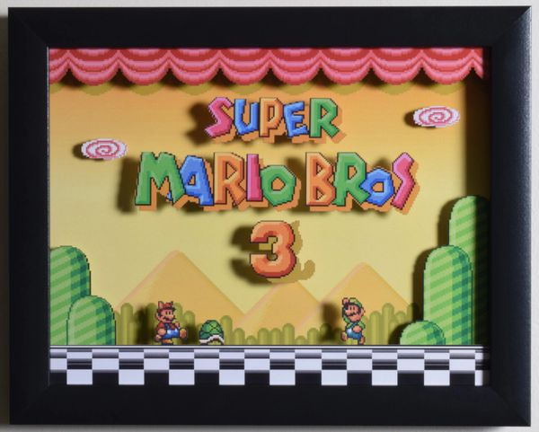 "Super Mario All Stars (SNES) - ""Super Mario Bros 3"" 3D Video Game Shadow Box with Glass Frame 10 x 12.5 inches"