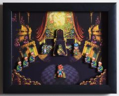 "Chrono Trigger (SNES) - ""The Courtroom"" 3D Video Game Shadow Box with Glass Frame 10 x 12.5 inches"