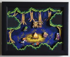 "Chrono Trigger Shadow Box - ""Fiona's Forest"" 3D Video Game Shadow Box with Glass Frame 10 x 12.5 inches"