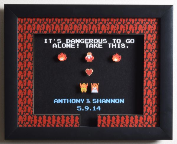 "CUSTOMIZABLE Legend of Zelda (NES) - ""It's Dangerous To Go Alone"" 3D Video Game Shadow Box with Glass Frame 10 x 12.5 inches"