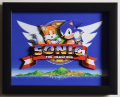 "Sonic The Hedgehog 2 (Genesis) - ""Title Screen"" 3D Video Game Shadow Box with Glass Frame 10 x 12.5 inches"