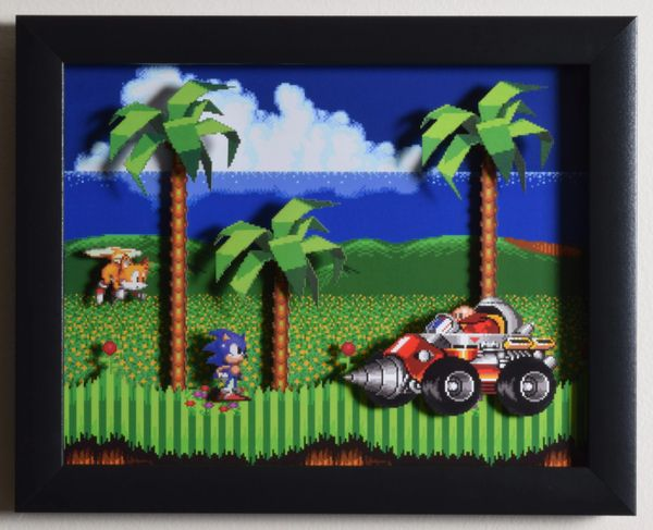 "Sonic The Hedgehog 2 (Genesis) - ""Emerald Hill Zone"" 3D Video Game Shadow Box with Glass Frame 10 x 12.5 inches"