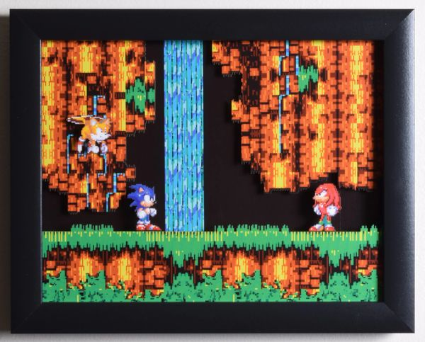 "Sonic The Hedgehog 3 (Genesis) - ""Sonic & Knuckles"" 3D Video Game Shadow Box with Glass Frame 10 x 12.5 inches"