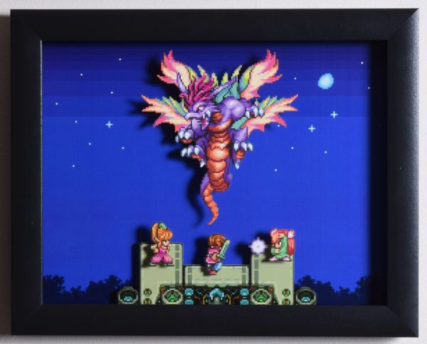 "Secret of Mana (SNES) - ""The Mana Beast"" 3D Video Game Shadow Box with Glass Frame 10 x 12.5 inches"
