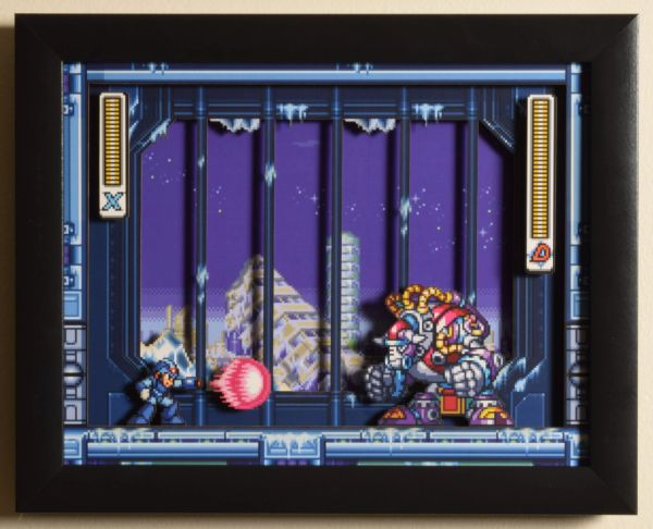 "Mega Man X3 (SNES) - ""Blizzard Buffalo"" 3D Video Game Shadow Box with Glass Frame 10 x 12.5 inches"