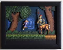 "Act Raiser (SNES) - ""The Centaur"" 3D Video Game Shadow Box with Glass Frame 10 x 12.5 inches"