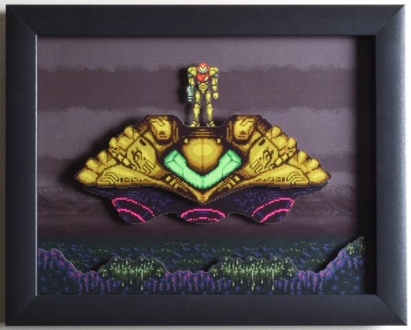 "Super Metroid (SNES) - ""The Gunship"" 3D Video Game Shadow Box with Glass Frame 10 x 12.5 inches"