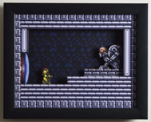 "Super Metroid (SNES) - ""The Chozo"" 3D Video Game Shadow Box with Glass Frame 10 x 12.5 inches"