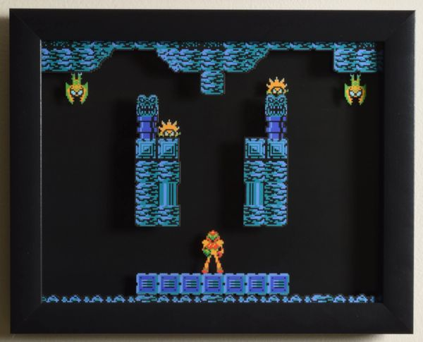 "Metroid (NES) - ""Brinstar"" 3D Video Game Shadow Box with Glass Frame 10 x 12.5 inches"