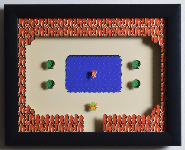"Legend of Zelda (NES) - ""The Fairy"" 3D Video Game Shadow Box with Glass Frame 10 x 12.5 inches"