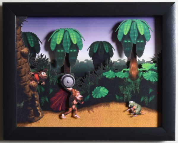 "Donkey Kong Country (SNES) - ""Jungle Hijinks"" 3D Video Game Shadow Box with Glass Frame 10 x 12.5 inches"