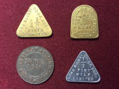 178 - Four Bread / Milk Tokens, Long Buckby :SOLD: