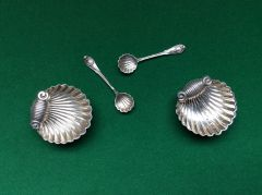 189 - Pair Of Silver Salt Cellars, Birmingham 1900 :SOLD:
