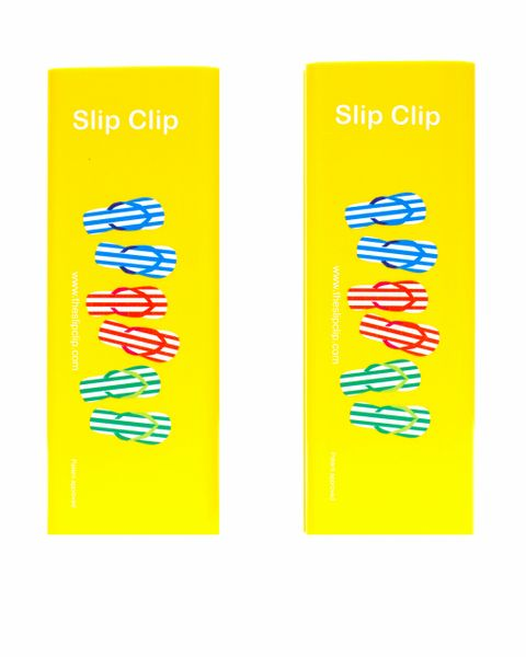 2 Slip Clips Per Pack - Perfect Beach Towel Clip - Yellow with Flip Flips