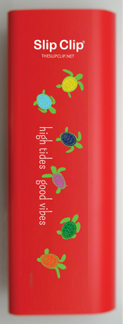 2 Slip Clips Per Pack - Perfect Everything Clip - Red with Sea Turtles