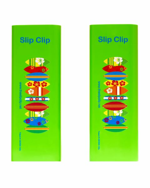 2 Slip Clips Per Pack - Perfect Beach Towel Clip - Green with Surf Boards
