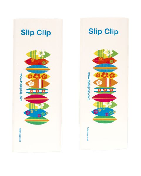 2 Slip Clips Per Pack - Perfect Beach Towel and Boat Clip - White with Surf Boards